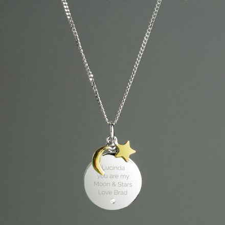Personalised Moon & Stars Sterling Silver Necklace With Pendant